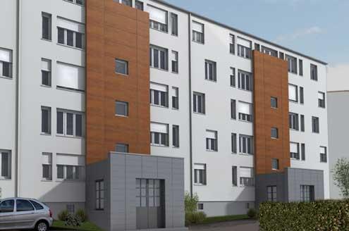 Retraitement et polychromie de 3 immeubles rue Einstein à Hagondange