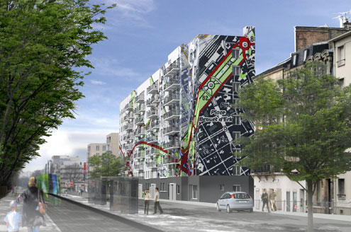 Retraitement architectural et polychromie d'un immeuble-barre du quartier Gare à REIMS