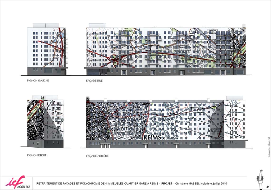 retraitement architectural et polychromie d u2019un immeuble